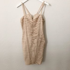 Wow Couture Beige Gold Bandage bodycon Dress